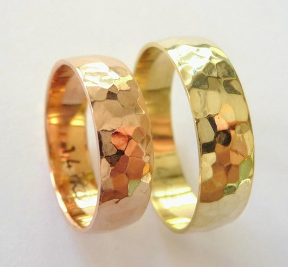 Hammered wedding bands set womens mens wedding rings