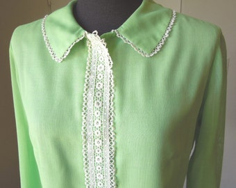 SALE...Vintage 60's Shirt, Mint Green with Cream LACE Trim, Size Medium, Bust 37