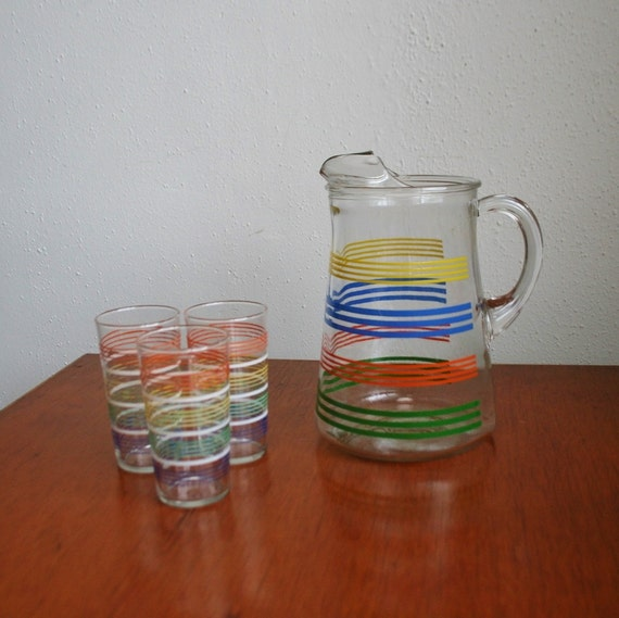 Vintage Pitcher and 3 Glasses - Striped - Primary Colors