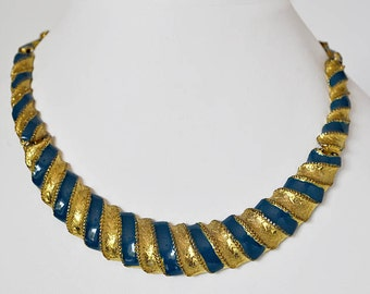 Vintage Blue and Gold Choker Necklace