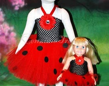 Doll and Me - Matching Child and Doll Ladybug Tutu Dress - Size NB to 24 Months - Can Be Worn Different Ways