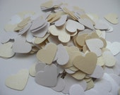 Wedding confetti hearts - White - Ivory - Paper hearts - 200 die cut hearts - paper heart confetti - weddings