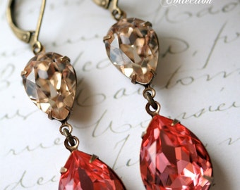 Rose Peach and Champagne Swarovski Crystal Earrings, Blush Earrings, Champagne Earrings