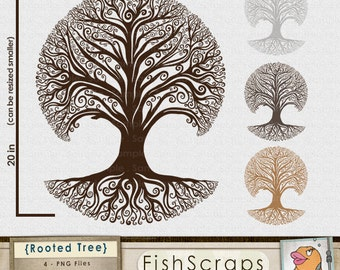 Rooted Tree Clip Art, Family Tree Silhouette, Whimsical Tree ClipArt, Decorative Tree Roots, Printable Royalty Free Digital Design