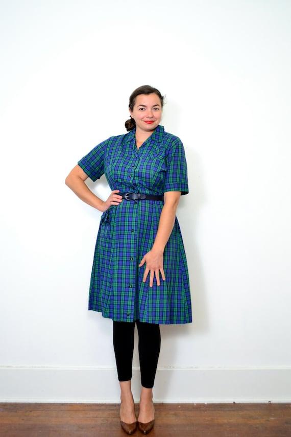 1950s Green and Blue Shirtwaist // XXL // Plus Size