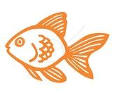 Goldfish digital stamp clip art in orange and black