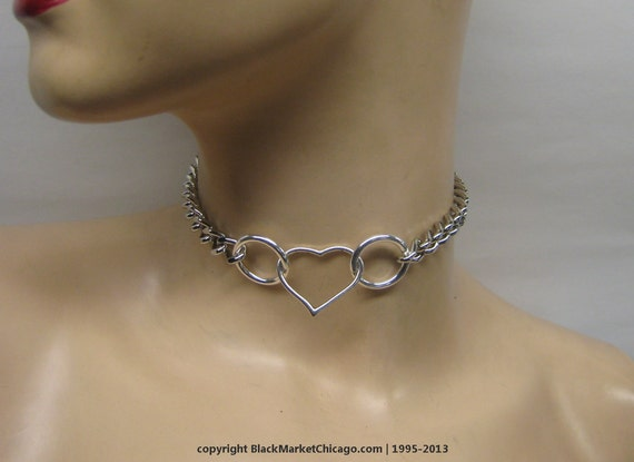 Bdsm Submissive Day Collar Locking Open Heart Choker