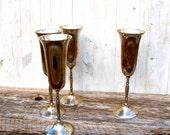 Vintage Silver Champagne Flutes - Set of 4
