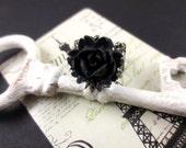 SALE Gothic Rose Ring - Black Flower Ring, Filigree Ring, Vintage Inspired Jewelry, Gunmetal Adjustable Ring