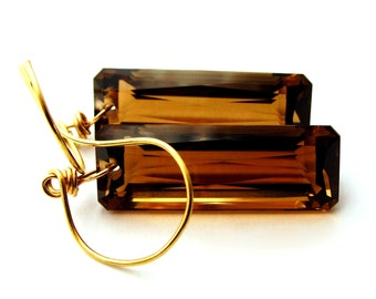 Smoke -14k Gold Smoky Quartz Earrings - Available in 14K White or Yellow Gold