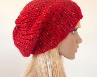 Red Slouchy Hat Beanie Red Knit hat - Red beanie -    Slouch beanie unisex