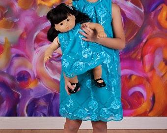 Shift Aline Dress Pattern with optional overlay - American Girl Doll Dress Pattern - PDF Mini Garden Dress