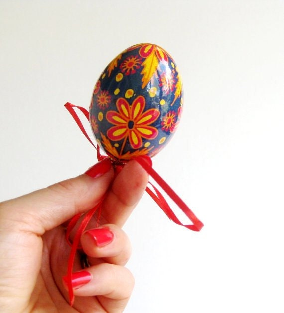 red and blue Pysanka, Ukrainian  Easter Egg on a string