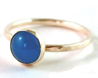 Blue Malaysia Jade Cabochon Sterling Silver Stacking Ring