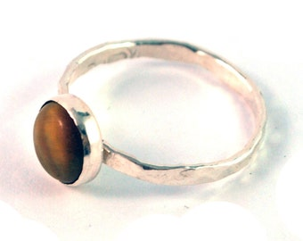 Tiger Eye Cabochon Sterling Silver Stacking Ring