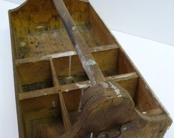 Vintage tool Box Wood carpenter storage compartments tooled leather Primitive rustic Carrier