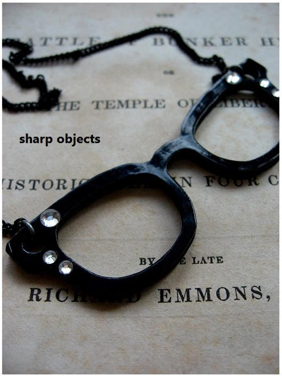 HORN RIM - black glasses pendant / metalwork charm with rhinestones & black annealed chain statement necklace