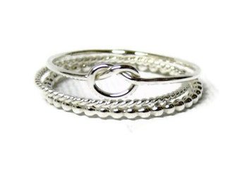 Silver knot ring stack set Sterling silver stacking rings set sterling silver ring stackable rings infinity knot ring