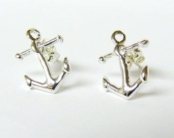 Anchor stud earring Sterling silver anchor studs nautical jewelry Sterling Silver studs