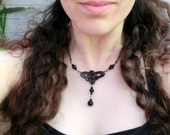 Celtic Knot Necklace - Black - Choker - Triple Knot - Unique Celtic Pendant Laser Cut - Laura Cesari & Jeremy Richardson