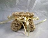 Baby Socks tie on Booties Crochet top with satin ribbon tie