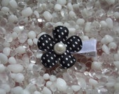 Black Satin with White Polka Dots Flower with Pearl Center Hair Clip - No Slip Grip - Baby - Toddler - Girl - Teen - Adult Hair Clip