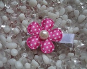 Hot Pink Satin with White Polka Dots Flower with Pearl Center Hair Clip - No Slip Grip - Baby - Toddler - Girl - Teen - Adult Hair Clip