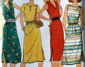 vintage 80's QUICK Butterick 6566 pullover Dress in 4 versions, UNCUT, size 8 10 12, bust 31.5  32.5  34