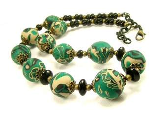 Emerald Green Eclectic Beaded Necklace, Polymer Clay Jewelry