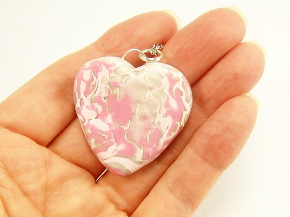 Polymer Clay Jewelry Heart Necklace, Pink and Pearl Heart, Handmade, Pendant Jewelry, Breast Cancer Awareness