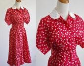 Vintage Poppy Blouson Dress -- Red and White Short Sleeve Dress -- Dolman Sleeve Dress -- Small Medium
