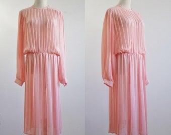 Vintage Pleated Dress, Accordion Pleat Dress, Sheer Dress, Pink Dress, 70s Dress, Long Sleeve Dress, Loose Fitting Dress, Medium Large