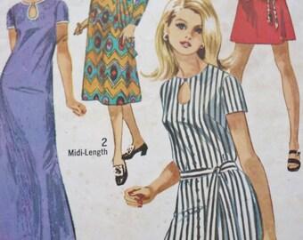 Vintage Simplicity 8722 Sewing Pattern, 70s Jiffy Dress, Keyhole Neckline, Maxi Midi Mini Dress, Short Sleeves, Long Sleeve, Size 12 Bust 34