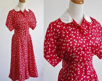 Vintage Poppy Print Dress, Blouson Dress, Red and White Printed Dress, Short Sleeve Dress, Dolman Sleeve Dress, Cummerbund, Small Medium
