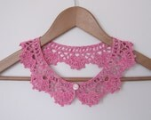 Raspberry Cake Lace collar necklace in pink and creamy