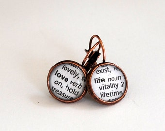 Love Life Earrings/ Vintage Copper/ Dictionary Words / Inspirational / Word Earrings / Love Life
