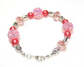 Pink Crystal Bracelet, Sparkly Bracelet, Frosted Pink Beads, Pale Pink Crystals, Lucite Beads, Kawaii Jewelry, Pink Crystal Cluster Beads