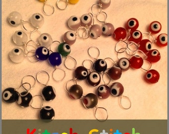 Kitsch Stitch Markers: Glass Evil Eye