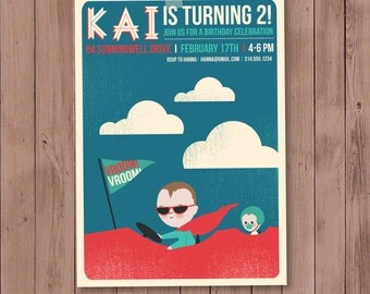5X7 Children's birthday invitations features race car theme and custom illustration of your child