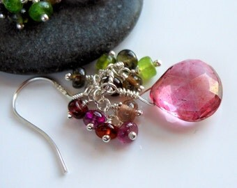 Multi Tundru Sapphires Pink Mystic Quartz Cluster Earrings Sterling Silver