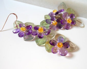 Amethyst Wire Wrapped Violet Earrings February Gemstone with Fluorite Citrine Sterling silver