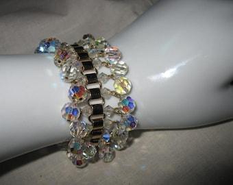 Vintage Austrian Aurora Crystal Dangling Beads Bracelet Goldtone Bling