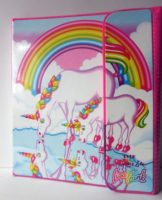 Vintage Lisa Frank Unicorn Tri-Fold Binder