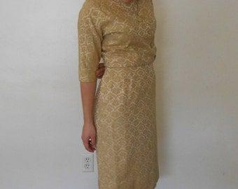 50's Golden Dress Suit // Mad men Style Dress and Jacket
