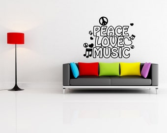 Vinyl Wall Decal Sticker Peace Love and Music 1107m
