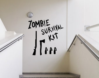 Vinyl Wall Decal Sticker Zombie Survival Kit  OSMB983m