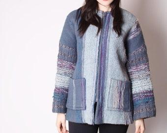 Vintage 60s Wool Woven Slate Blue Coat / Woven Coat / Blue Woven Coat / 60s Wool Coat / Vintage Coats / 1951