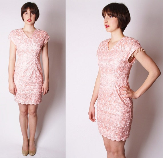 Baby Pink Lace Beaded Cocktail Party Dress Dress Dresses