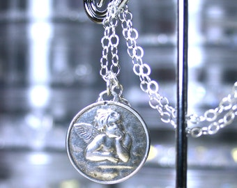 The Little Cherub Necklace - Raphael's Angel Pendant - Handmade with All Sterling Silver