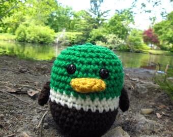 Woolie Baby  Mallard Duck Hand Crocheted Plush